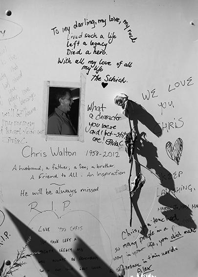 Tributes to Chris Walton at James St Burleigh Heads